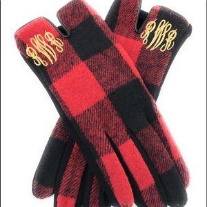 Custom Monogrammed Buffalo Plaid Gloves